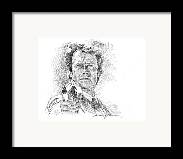 Clint Eastwood Framed Print featuring the drawing Clint Eastwood As Callahan by David Lloyd Glover