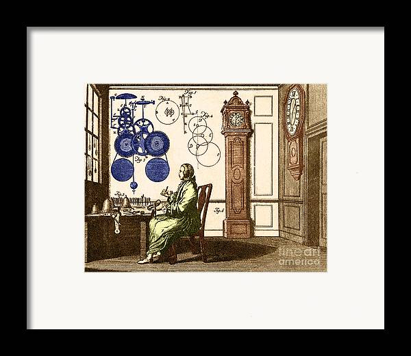 Engraving Framed Print featuring the photograph Clockmaker by Photo Researchers