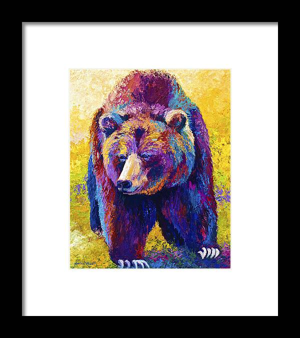 Western Framed Print featuring the painting Close Encounter - Grizzly Bear by Marion Rose