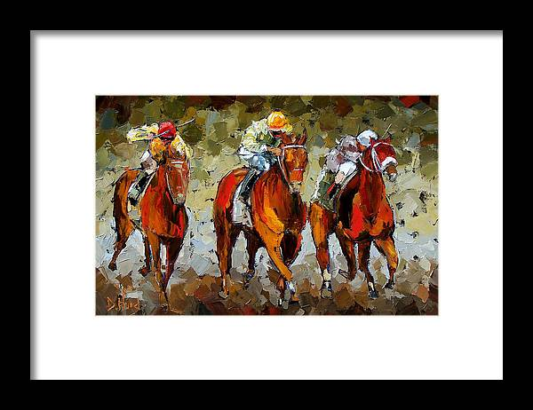 Horses Framed Print featuring the painting Close Race by Debra Hurd