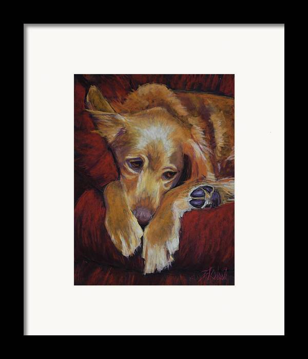 Sleeping Dog Framed Print featuring the painting Close To Dreamland by Billie Colson