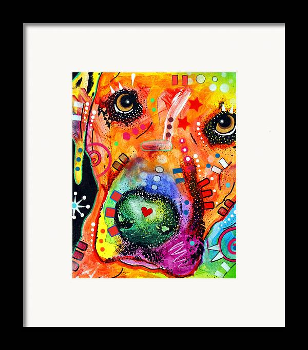 Dog Framed Print featuring the painting Close Up Lab Warpaint by Dean Russo