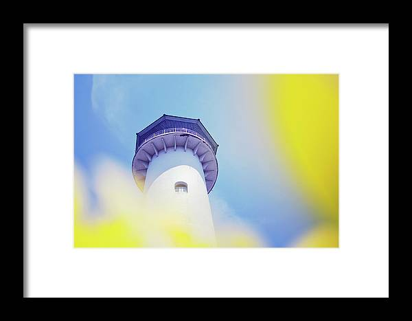 Above Framed Print featuring the photograph Close Up Of A Lighthouse Building by Srdjan Kirtic