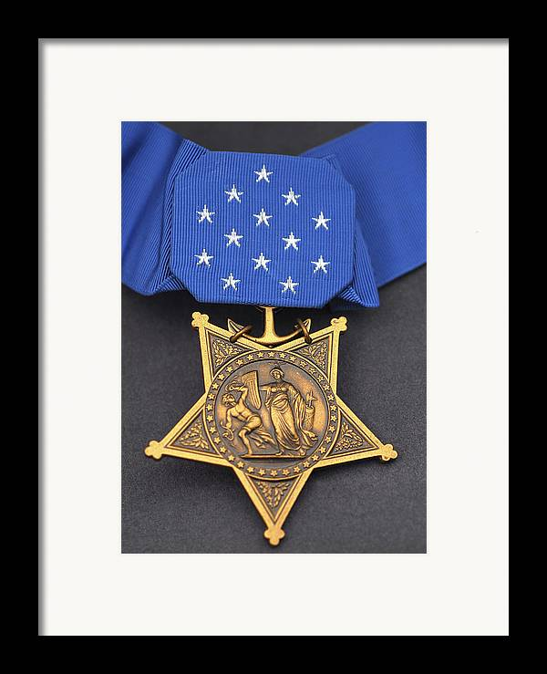 Medal Of Honor Framed Print featuring the photograph Close-up Of The Medal Of Honor Award by Stocktrek Images