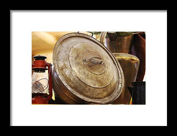 Hurricane Lamp Framed Print featuring the photograph Closeup of Antique Pot and Hurricane Lantern by Colleen Cornelius