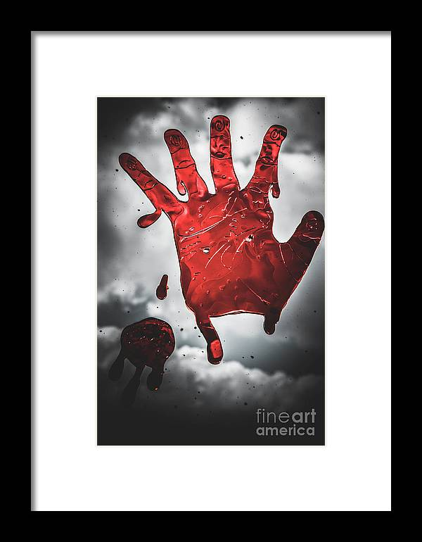Closeup Of Scary Bloody Hand Print On Glass Framed Print by Jorgo ...