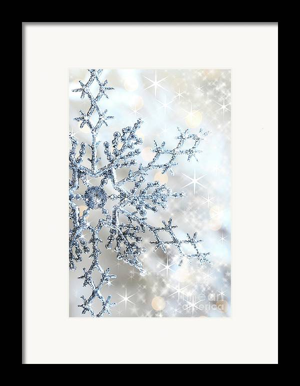 Background Framed Print featuring the photograph Closeup Of Snowflake by Sandra Cunningham