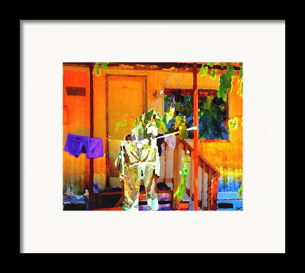 Framed Print featuring the digital art Clothesline by Danielle Stephenson