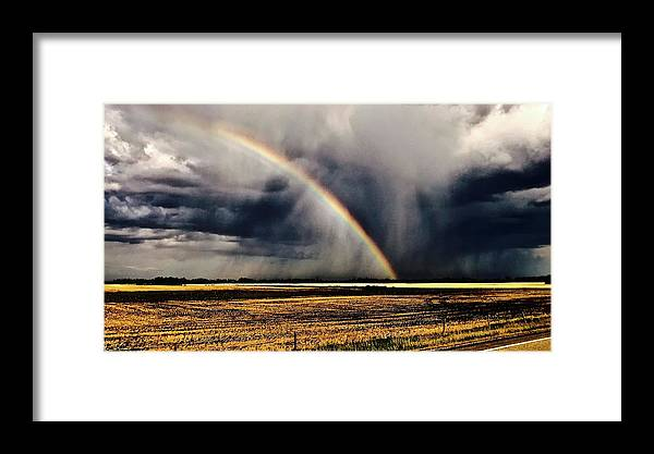 Cloud Burst Framed Print featuring the photograph Cloud Burst And Rainbow Early Spring Storm by Brian Sereda