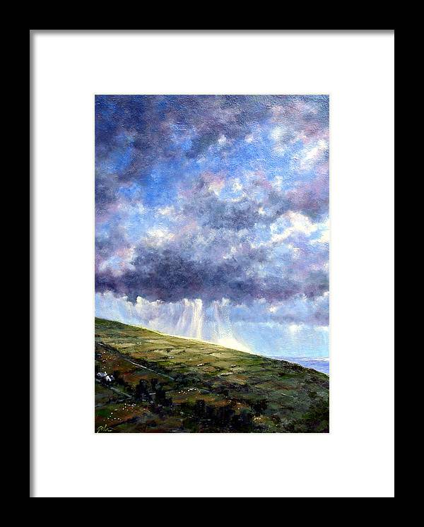 Oil Painting Framed Print featuring the painting Cloud Burst Ireland by Jim Gola