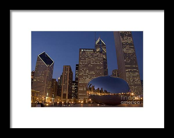 Cloud Gate Framed Print featuring the photograph Cloud Gate At Night by Timothy Johnson