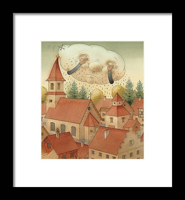 Cloud Town City Rain Roof Framed Print featuring the painting Cloud by Kestutis Kasparavicius