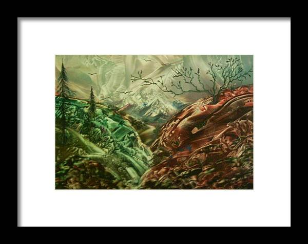 Landscape Framed Print featuring the painting Cloud Mountain by John Vandebrooke