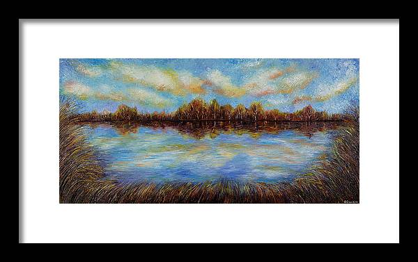 Landscape Framed Print featuring the painting Clouds. by Evgenia Davidov