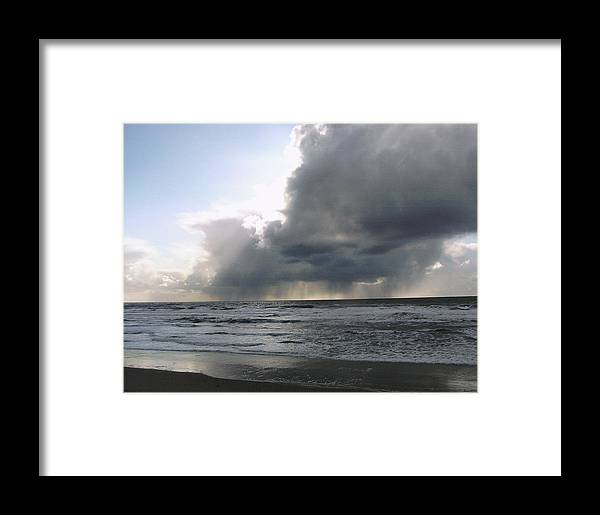 Landscape/ocean Framed Print featuring the photograph Clouds Message by Yolanda Lange