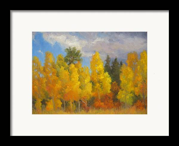 Landscape Framed Print featuring the painting Clouds Of October by Bunny Oliver