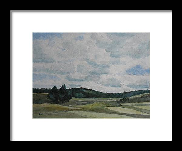 Mountains Framed Print featuring the painting Clouds Over Boot Hill by Jenny Armitage