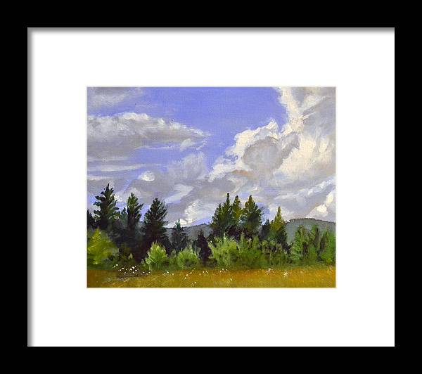 Clouds Framed Print featuring the painting Clouds Over Lace by Mary Chant