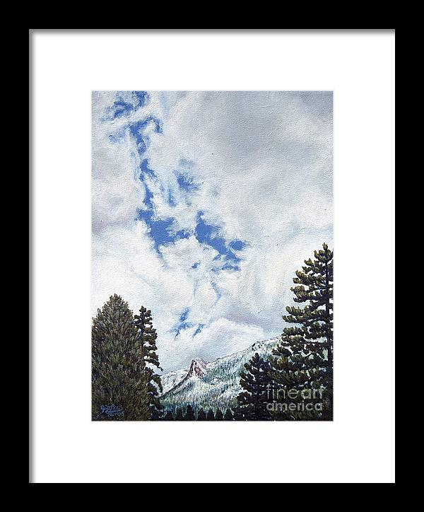 Landscape Painting Framed Print featuring the painting Clouds Over Tahquitz by Jiji Lee