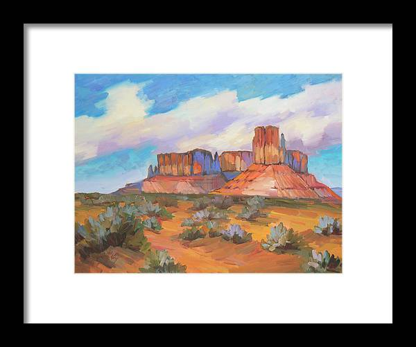 Monument Valley Framed Print featuring the painting Clouds Passing Monument Valley by Diane McClary