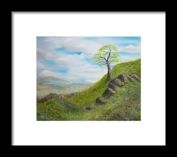 Landscape Framed Print featuring the painting Clouds by Tony Rodriguez