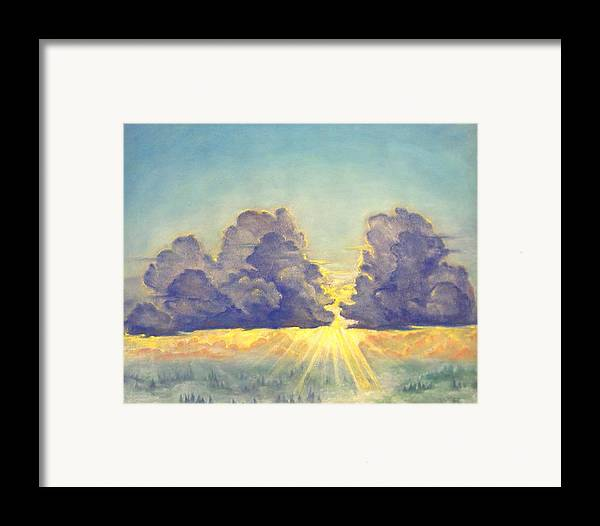 Clouds Framed Print featuring the painting Cloudscape by Julianna Ziegler
