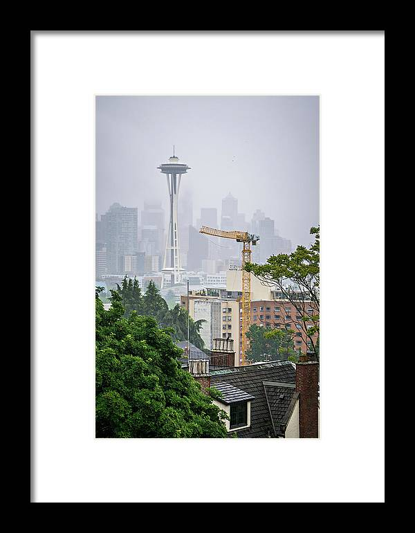 Skyline Framed Print featuring the photograph Cloudy And Foggy Day With Seattle Skyline by Alex Grichenko