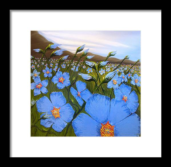 Beautiful Blue Flax Flowers! Framed Print featuring the painting Cloudy Day Blues by Portland Art Creations