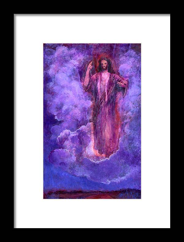 Clouds Framed Print featuring the painting Cloudy Lavender by Diana Ludwig