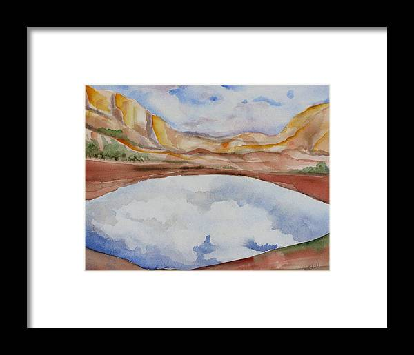 Landscape Framed Print featuring the painting Cloudy Reflections by Kathy Mitchell