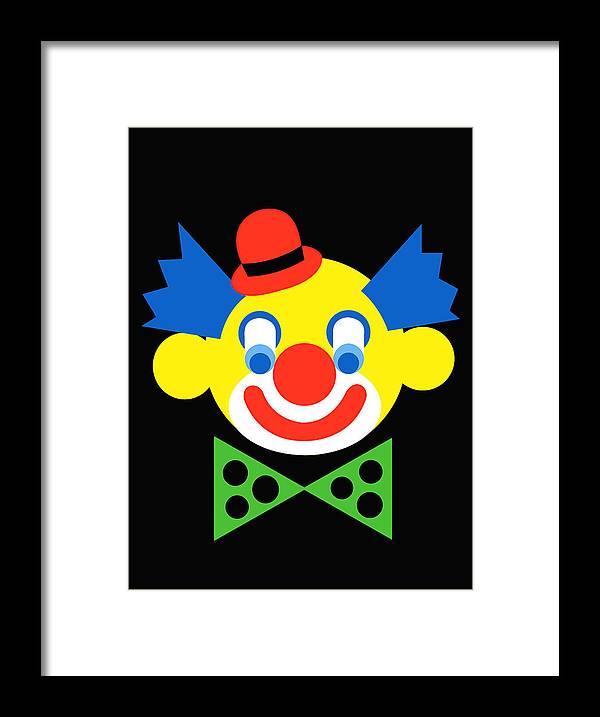 Clown Framed Print featuring the digital art Clown by Asbjorn Lonvig