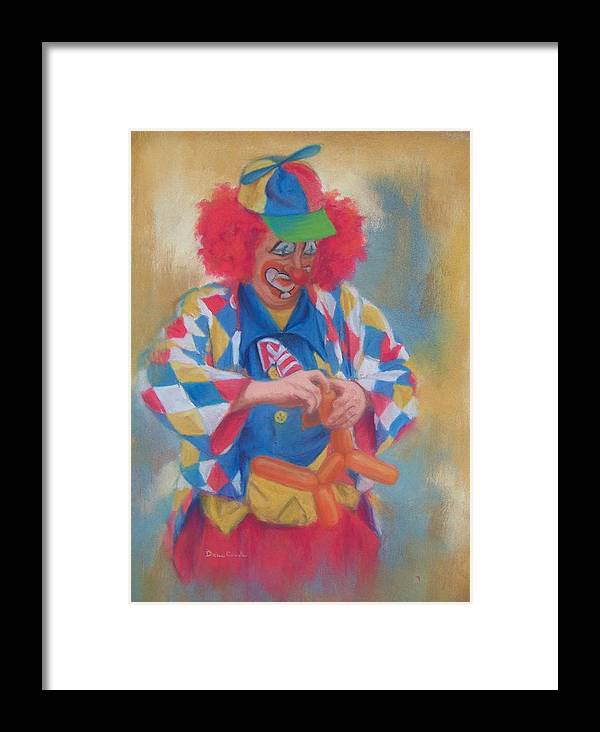 Clown Framed Print featuring the painting Clown Making Balloon Animals by Diane Caudle