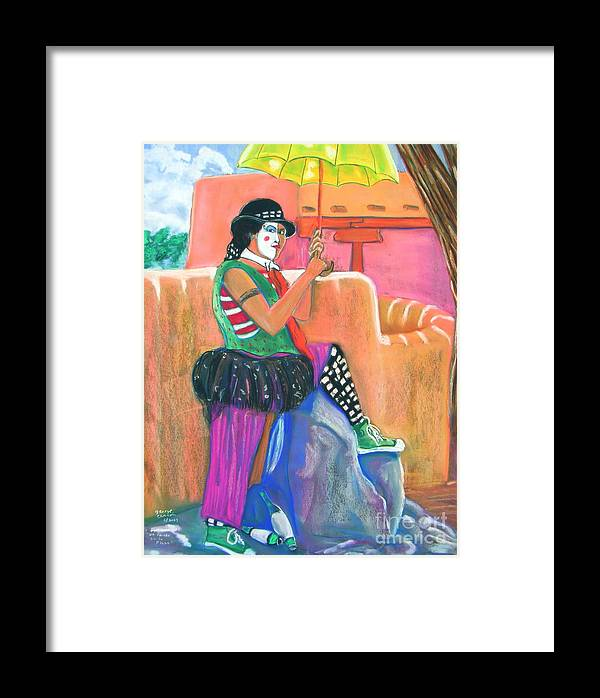 Clowns Framed Print featuring the pastel clown on Taos plaza by George Chacon