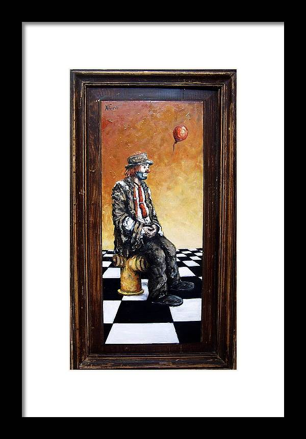 Clown Man Figurative Figure Human Surrealism Chess Emotion Framed Print featuring the painting Clown S Melancholy by Natalia Tejera