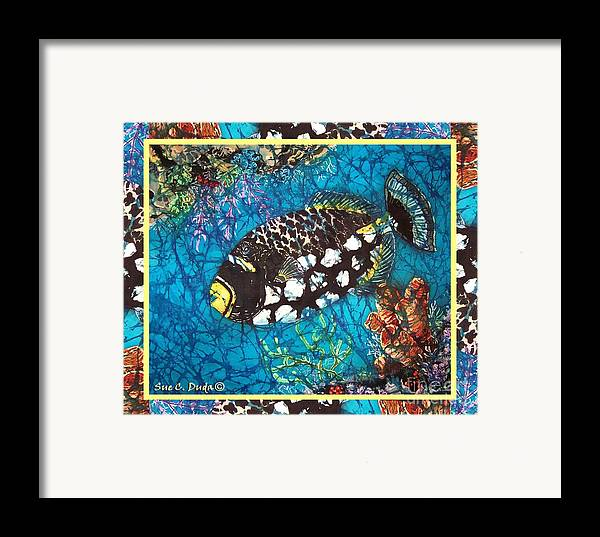 Batik Framed Print featuring the painting Clown Triggerfish-bordered by Sue Duda