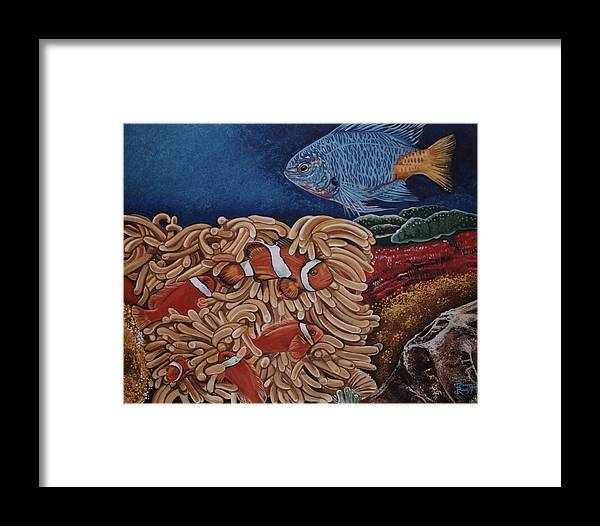 Underwater Scene Framed Print featuring the painting Clownfish by Diann Baggett