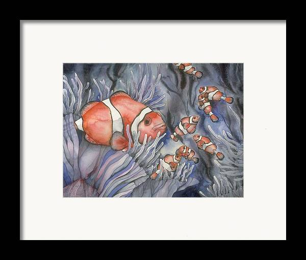 Sealife Framed Print featuring the painting Clownfish by Liduine Bekman