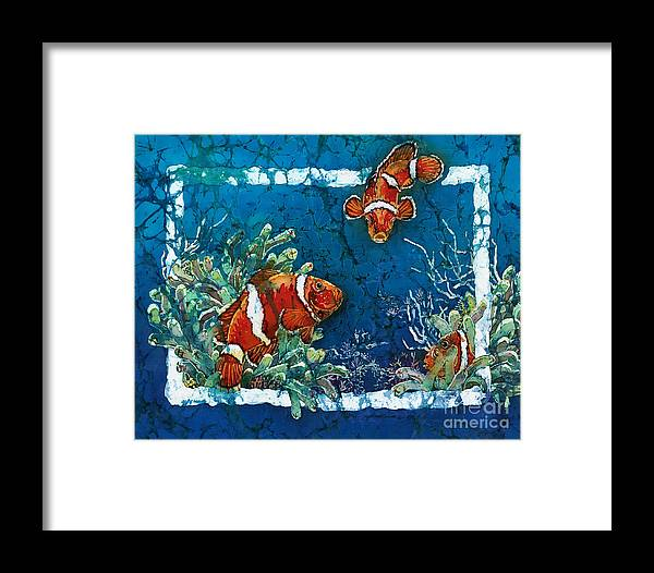 Ocean Framed Print featuring the painting Clowning Around - Clownfish by Sue Duda