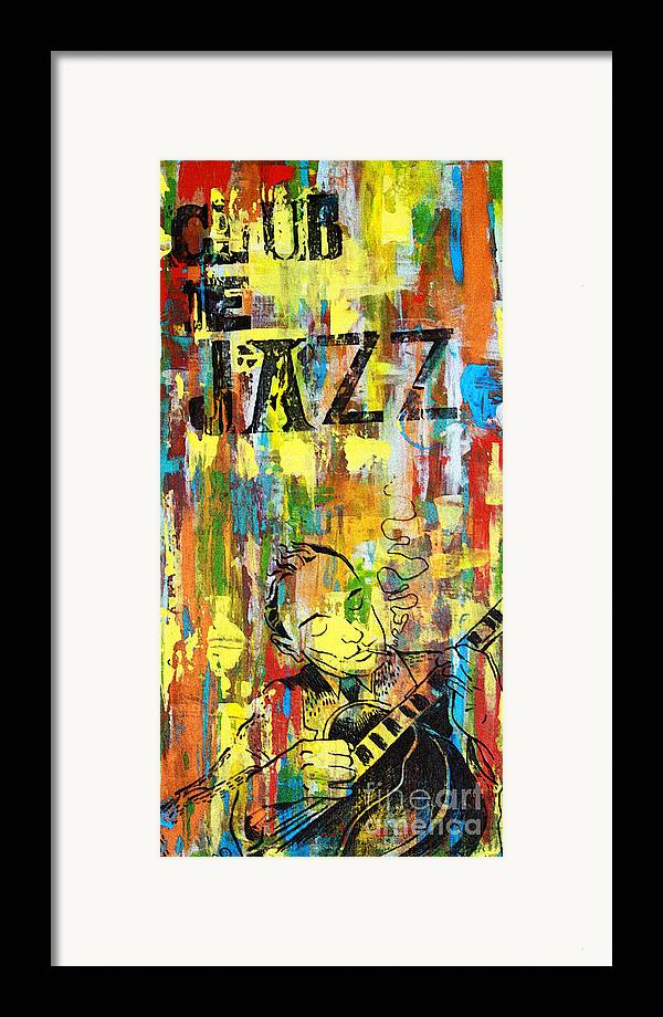Club Framed Print featuring the mixed media Club De Jazz by Sean Hagan