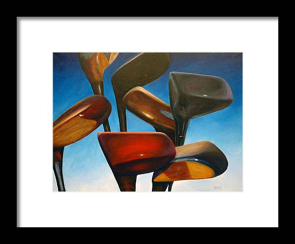 Golf Clubs Brown Framed Print featuring the painting Clubs Rising by Shannon Grissom