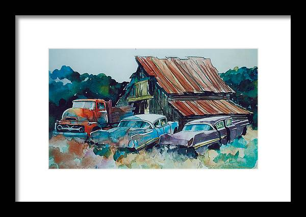 Ford Cabover Framed Print featuring the painting Cluster of Restorables by Ron Morrison