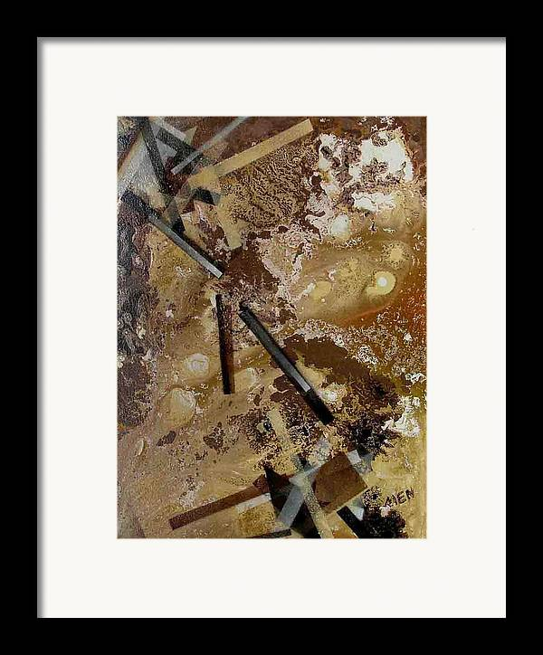 Abstract Framed Print featuring the painting Clusters In Yellowbrown by Evguenia Men