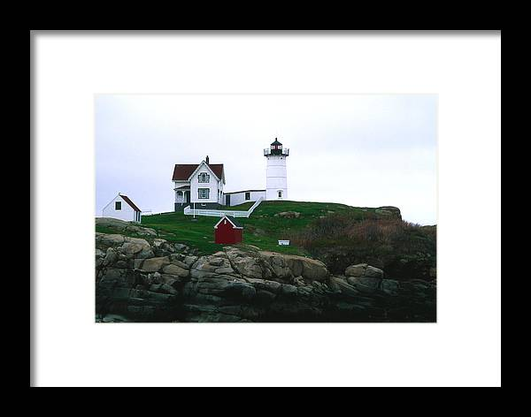 Landscape Lighthouse Nautical New England Nubble Light Cape Neddick Framed Print featuring the photograph Cnrf0502 by Henry Butz