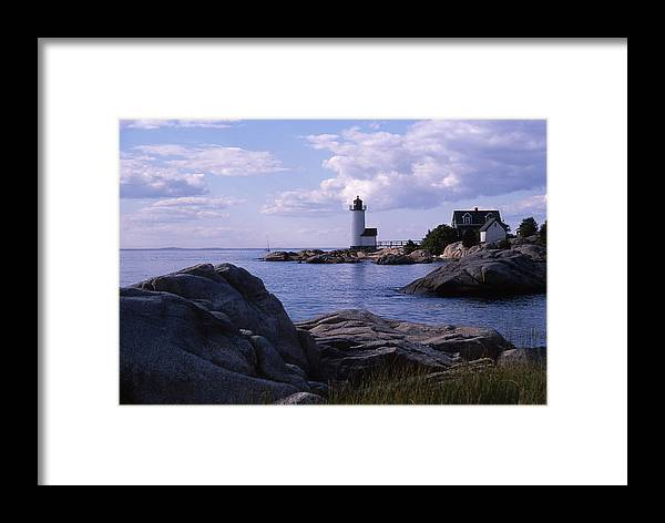 Landscape Lighthouse New England Annisquam Harbor Light Gloucester Framed Print featuring the photograph Cnrf0903 by Henry Butz