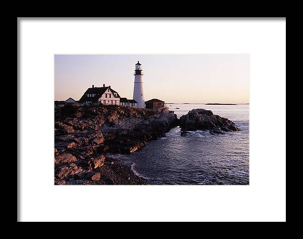 Landscape Lighthouse Nautical New England Portland Head Light Cape Elizabeth Framed Print featuring the photograph Cnrf0905 by Henry Butz
