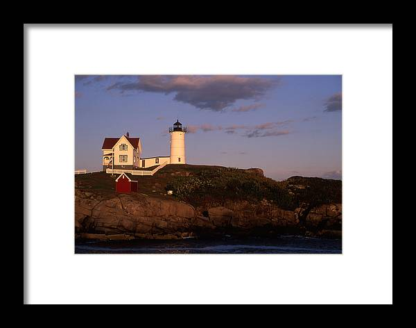 Landscape New England Lighthouse Nautical Coast Framed Print featuring the photograph Cnrf0908 by Henry Butz