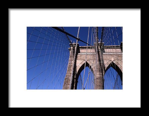 Landscape Brooklyn Bridge New York City Framed Print featuring the photograph Cnrg0406 by Henry Butz