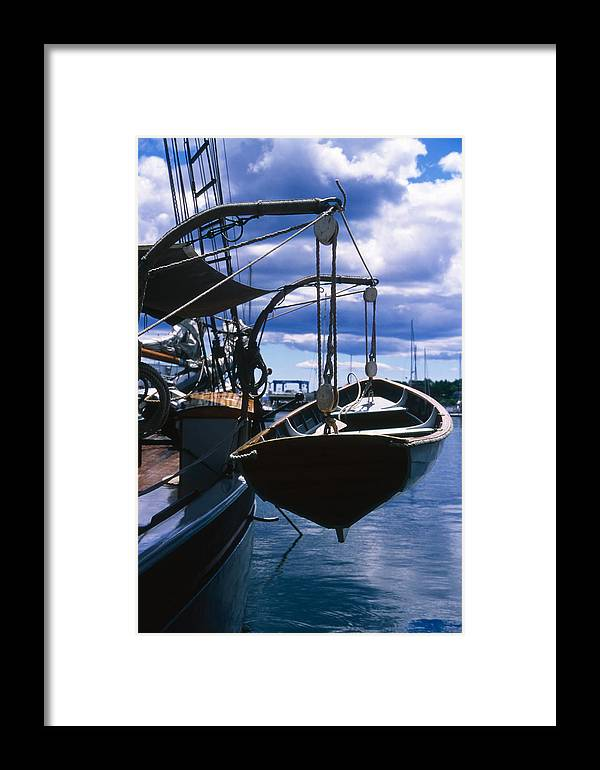 Landscape Camden Harbor Maine Sail Boat Harbor Nautical Framed Print featuring the photograph Cnrh0601 by Henry Butz