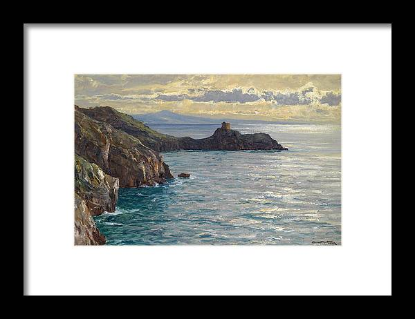 Albert Wenk Framed Print featuring the painting Coast At Amalfi by Albert Wenk