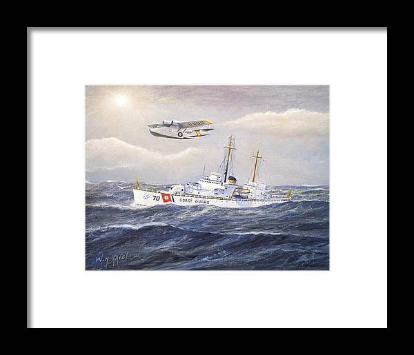 Nautical Framed Print featuring the painting Coast Guard Cutter Pontchartrain And Coast Guard Aircraft by William H RaVell III